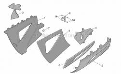 Frame - Central Body - Lower Fairings - Aprilia - RH lower fairing, red