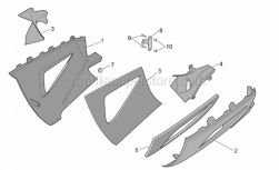 Frame - Central Body - Lower Fairings - Aprilia - Acoustic insul. panel, RH low.