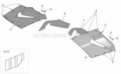 Frame - Central Body - Upper Fairings - Aprilia - RH lat.fairing, silver