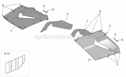 Frame - Central Body - Upper Fairings - Aprilia - Acoustic insulation panel, RH