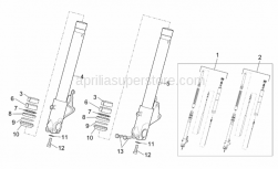 Frame - Showa Front Fork - Hubs, Sleeves - Aprilia - Hub+RH fork leg