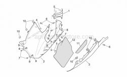 Frame - Central Body - Lower Fairings - Aprilia - Acoustic insul. panel, LH low.