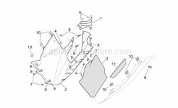Frame - Central Body - Rh Fairings - Aprilia - RH lower fairing, fluo red