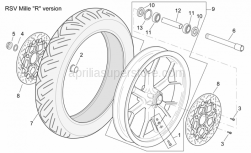 "Frame - Front Wheel Rsv Mille ""R"" Version - Aprilia - Front brake disc, gold 320"