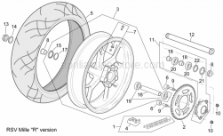 "Frame - Rear Wheel Rsv Mille ""R"" Version - Aprilia - Low self-locking nut"