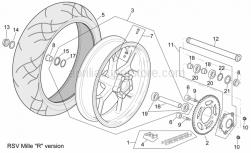 "Frame - Rear Wheel Rsv Mille ""R"" Version - Aprilia - Gasket ring 38x55x7"