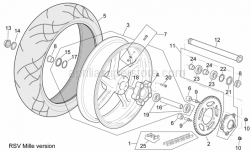 Frame - Rear Wheel Rsv Mille Version - Aprilia - Low self-locking nut