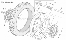 Frame - Front Wheel Rsv Mille Version - Aprilia - Wheel spindle nut