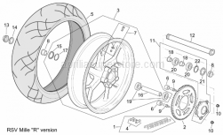 """Frame - Rear Wheel Rsv Mille """"R"""" Version - Aprilia - Chain ring Z=42"""