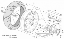 "Frame - Rear Wheel Rsv Mille ""R"" Version - Aprilia - Rear wheel, blue"