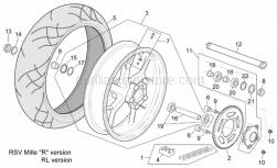 "Frame - Rear Wheel Rsv Mille ""R"" Version - Aprilia - Tubeless tyre valve 90"