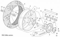 Frame - Rear Wheel Rsv Mille Version - Aprilia - Rear wheel spindle