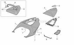 Frame - Rear Body - Rear Fairing I - Aprilia - Saddle cover kit, red