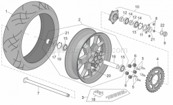 Frame - Rear Mudguard - Aprilia - Rear wheel spindle