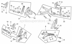 OEM Frame Parts Diagrams - Foot Rests - Aprilia - LH rear footrest guard