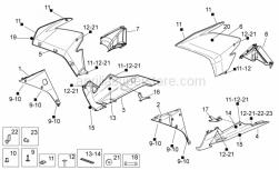 OEM Frame Parts Diagrams - Front Body II - Aprilia - RH lat.fairing, black