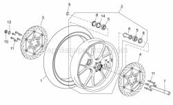 OEM Frame Parts Diagrams - Front Wheel - Aprilia - Washer 25,2x36x1