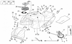 OEM Frame Parts Diagrams - Fuel Tank - Aprilia - LH side panel support