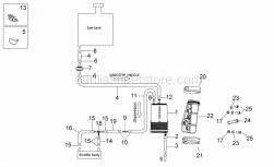 OEM Frame Parts Diagrams - Fuel Vapour Recover System - Aprilia - Carbon filter