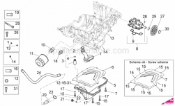 OEM Engine Parts Diagrams - Lubrication - Aprilia - Screw w/ flange M6x30