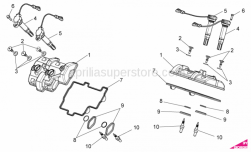 OEM Engine Parts Diagrams - Valves Cover - Aprilia - HT coil short cable
