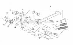 OEM Frame Parts Diagrams - Central Stand - Aprilia - Low nut M10x1,25