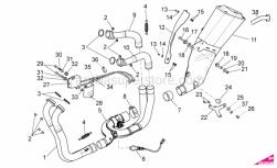 OEM Frame Parts Diagrams - Exhaust Pipe I - Aprilia - Low nut M8