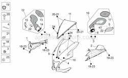 OEM Frame Parts Diagrams - Front Body I - Aprilia - Front fairing, red