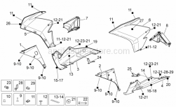 OEM Frame Parts Diagrams - Front Body II - Aprilia - RH internal fairing