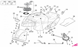 OEM Frame Parts Diagrams - Fuel Tank - Aprilia - LH support