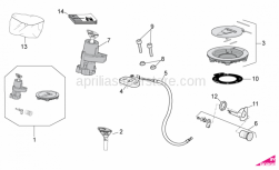 OEM Frame Parts Diagrams - Lock Hardware Kit - Aprilia - Fuel filler cap and lock