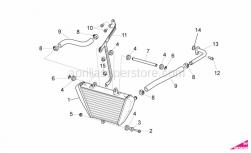 OEM Frame Parts Diagrams - Oil Radiator - Aprilia - Water cooler support