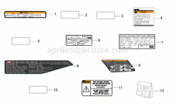 OEM Frame Parts Diagrams - Plate Set And Decal - Aprilia - Decalco pompa freno post.