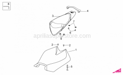 OEM Frame Parts Diagrams - Saddle - Aprilia - Rear saddle
