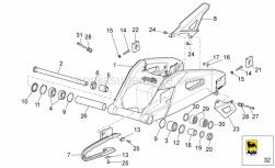 OEM Frame Parts Diagrams - Swing Arm - Aprilia - Screw w/ flange M5x12