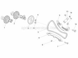 OEM Engine Parts Diagrams - Front Cylinder Timing System - Aprilia - Screw w/ flange M 8x10,3