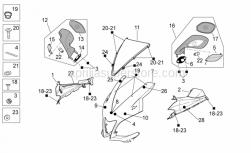 OEM Frame Parts Diagrams - Front Body I - Aprilia - Upper RH fairing, black