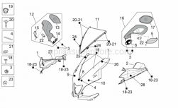 OEM Frame Parts Diagrams - Front Body I - Aprilia - RH rearview mirror