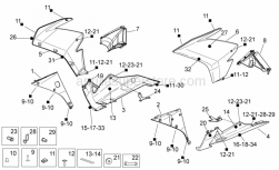 OEM Frame Parts Diagrams - Front Body II - Aprilia - R.H. DW. BODY SIDE