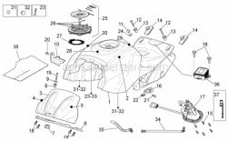 OEM Frame Parts Diagrams - Fuel Tank - Aprilia - Front support