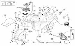 OEM Frame Parts Diagrams - Fuel Tank - Aprilia - Screw w/ flange M5x9