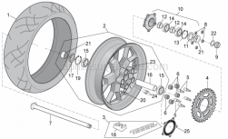 OEM Frame Parts Diagrams - Rear Wheel - Aprilia - Gasket ring 38x55x7