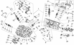 OEM Engine Parts Diagrams - Cylinder Head - Valves - Aprilia - Flanged nut M10x1