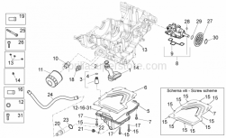OEM Engine Parts Diagrams - Lubrication - Aprilia - Oil filter union
