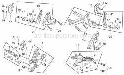 OEM Frame Parts Diagrams - Foot Rests - Aprilia - RH front footrest bracket