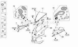 OEM Frame Parts Diagrams - Front Body I - Aprilia - Front fairing, black