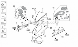 OEM Frame Parts Diagrams - Front Body I - Aprilia - RH transparent lens