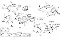 OEM Frame Parts Diagrams - Front Body II - Aprilia - LH lat.fairing, black