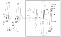 OEM Frame Parts Diagrams - Front Fork - Aprilia - LEFT STEM