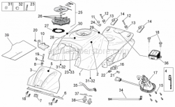 OEM Frame Parts Diagrams - Fuel Tank - Aprilia - Fuel filler cap and lock